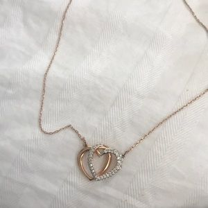 Rose Gold Intertwining Hearts Necklace